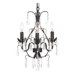 "The Gallery - New! CHANDELIER WROUGHT IRON CRYSTAL CHANDELIERS H18"" X W14"" SWAG PLUG IN-CHA... - 100% Crystal Wrought Iron Chandelier. A Great European Tradition. Nothing is quite as elegant as the fine crystal chandeliers that gave sparkle to brilliant evenings at palaces and manor houses across Europe. This beautiful chandelier from the Versailles Collection has 3 lights and is decorated and draped with 100% crystal that capture and reflect the light of the candle bulbs. The frame is Wrought Iron, adding the finishing touch to a wonderful fixture. The timeless elegance of this chandelier is sure to lend a special atmosphere anywhere its placed! Please note this item requires assembly.Size: H.18"" W.14"" 3 LIGHTS .Lightbulbs not included. THIS ITEM COMES WITH A SWAG PLUG-IN KIT , 14 FEET OF HANGING CHAIN AND WIRE."