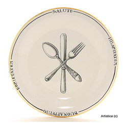 Artistica - Hand Made in Italy - POSATA: Charger Platter - POSATA Collection. A Deruta of Italy clever dinnerware design by retailer, author and trendsetter Peri Wolfman.