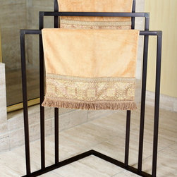 None - Oil Rubbed Bronze 3-tier Iron Construction Corner Towel Rack - This oil rubbed bronze-finished corner towel rack provides three levels for towels to hang from while maximizing the space in your bathroom. This rust-,corrosion- and tarnish-resistant towel rack offers iron construction for durability.