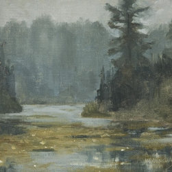 """""""Misty Day On Lace Lake"""" Artwork - This painting is of Lace Lake on the Gunflint Trail in Minnesota. That day the fog hug all along the trail for most of the day. This scene was painted from life or plein air. The painting also received an Honorable Mention at the Grand Marais Plein Air event.  The painting is done on linen that is mounted to board. All materials are archival. The size is 11 x 14 x 1/8 inch and will fit into a standard frame. It looks best with a wide plein air type frame. This piece is not framed."""
