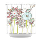 DiaNoche Designs - Shower Curtain Artistic - My Perfect Garden - DiaNoche Designs works with artists from around the world to bring unique, artistic products to decorate all aspects of your home.  Our designer Shower Curtains will be the talk of every guest to visit your bathroom!  Our Shower Curtains have Sewn reinforced holes for curtain rings, Shower Curtain Rings Not Included.  Dye Sublimation printing adheres the ink to the material for long life and durability. Machine Wash upon arrival for maximum softness. Made in USA.  Shower Curtain Rings Not Included.