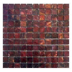 """Marbleville - Multi Red Onyx 1"""" x 1"""" Polished Square Pattern Mesh-Mounted Marble Mosaic  in 12 - Premium Grade Multi Red Onyx 1"""" x 1"""" Polished Mesh-Mounted Marble Mosaic is a splendid Tile to add to your decor. Its aesthetically pleasing look can add great value to the any ambience. This Mosaic Tile is constructed from durable, selected natural stone Marble material. The tile is manufactured to a high standard, each tile is hand selected to ensure quality. It is perfect for any interior/exterior projects such as kitchen backsplash, bathroom flooring, shower surround, countertop, dining room, entryway, corridor, balcony, spa, pool, fountain, etc."""