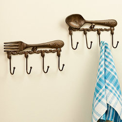 Giftcraft - Fork & Spoon Wall Hook Set - Made from sturdy iron, these delicately distressed culinary-themed hooks give you a great place to hang tea towels and aprons.   Includes fork hooks and spoon hooks 11.4'' W x 5.9'' H Iron Ready to hang Imported