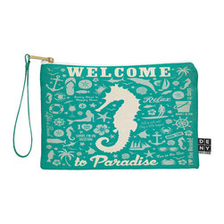 DENY Designs - DENY Designs Anderson Design Group Seahorse Pattern Pouch - You name it, DENY's Pouches hold it! Available in two sizes and styles, you can use our water repellent pouches for cosmetics, perfume, jewelry, pencils and even an Ipad mini! And did we mention that the small size doubles as a wristlet? With a coordinating color strap and interior lining, you can throw it into a larger bag or use it on the go as a clutch to hold your phone, credit cards and various other essentials. It's a party in a bag!