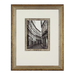 John Richard - John Richard The Streets of Prague I GRF-5002A - Black and white street scene double matted silver accent over black on inside mat white weighted outside mat in a silver and mahogany wood frame.