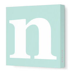 """Avalisa - Letter - Lower Case 'n' Stretched Wall Art, 12"""" x 12"""", Sea Green - Spell it out loud. These lowercase letters on stretched canvas would look wonderful in a nursery touting your little one's name, but don't stop there; they could work most anywhere in the home you'd like to add some playful text to the walls. Mix and match colors for a truly fun feel or stick to one color for a more uniform look."""