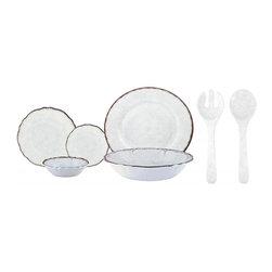 Le Cadeaux - Le Cadeaux Antiqua Red 16 Piece Dinnerware Set, White - Triple strength melamine - not microwave safe but dishwasher safe.