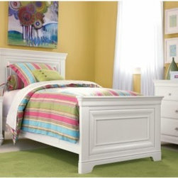 Classic 4.0 Summer White Panel Bed - Sleep in style with the Classic 4.0 Summer White Panel Bed. Constructed from durable wood, this handsome bed is finished with a room-brightening summer white hue and designed with classic, layered lines for simplicity and elegance. The stately headboard is large and stately, the left panel opens to reveal an LED snake light for reading in bed.For added bedding, and awesome slumber parties, the optional trundle is set on easy-glide wheels for convenient use, double the trundle as a convenient, out-of-the-way storage space. On the storage route, the optional shelves can be placed on either side of the bed and feature two drawers with smooth-pull drawer-glides and adjustable shelves.About Universal Furniture InternationalRecognized as a leader in exceptionally crafted home furnishings, including bedroom and dining room items, entertainment centers, and more, Universal strives to make items that are styled to endure but always remain fresh. They make it a goal to include features that fit the way their customers live today, and to find prices that put high-quality products within reach. These are the principles that guide the work at Universal, essential elements of good, affordable, and smart design.