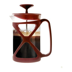 EPOCA - Tempo 6 Cup Coffee Press - Red - Modern design French press consists of a narrow cylindrical glass jug, equipped with a lid and a stainless plunger, which fits tightly in the cylinder glass beaker and which has a fine wire mesh acting as a filter. Coffee is brewed by placing the coffee and water together, leaving to brew for a few minutes, and then depressing the plunger to trap the coffee grinds at the bottom of the glass jug. A French press requires coffee of a coarser grind than that used for a drip brew coffee filter, such as produced by a burr mill grinder rather than the whirling blade variety, as a finer grind will seep through the press filter and into the coffee. Because the coffee grounds remain in direct contact with the brewing water and the grinds are filtered from the water via a mesh instead of a paper filter, coffee brewed with the French press captures more of the coffee's flavor and essential oils, which would become trapped in a traditional drip brew machine's paper filters. French pressed coffee is usually stronger and thicker and has more sediment than drip-brewed coffee.