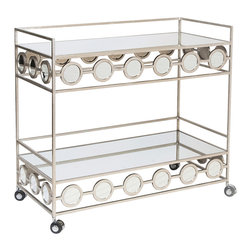 Worlds Away - Worlds Away Champagne Silver Leafed Bar Cart CARR S - Worlds Away Champagne Silver Leafed Bar Cart CARR S