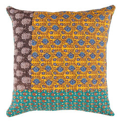 """Surya - Surya HSK-110 18"""" x 18"""" Poly Fiber Pillow Kit - This pillow displays great detail in every design. Colors of avocado, light celadon, lagoon, dusk blue, blue corn, red, golden ochre, bonze, mustard, black olive, and putty accent this decorative pillow. This pillow contains a poly fill and a zipper closure. Add this 18"""" x 18"""" pillow to your collection today."""