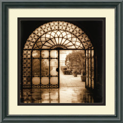 "Amanti Art - ""Venezia, Italia"" Framed Print by Alan Blaustein - Take a peek through the door and be transported to a bygone era. Alan Blaustein's stunning black and white image creatively captures the ornate detail and serenity of an old European courtyard. No doubt, this will become one of your favorite pieces of art."