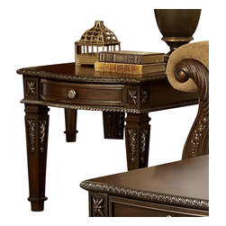 Homelegance - Homelegance Palace 28 Inch End Table in Brown Cherry - The Palace collection exemplifies the best of Old World Europe. The elegant occasional table grouping features egg and dart moldings, rope twist posts and acanthus & tobacco leaf carvings and florets, the Palace collection has it all.