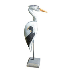 Craft-Tex - 26 in. Hand Painted Blue Heron - Antique and vintage Water Fowl and Decoy reproductions. Award winning designs. Exact reproduction of a Master Carvers original. Hand cast in a variety of mediums to insure the exact detailing of the original wood carving. Crafted by North Carolina artists with attention to detail. Made in USA. Made of pecan shell resin. 1-Year warranty. 10 in. L x 9 in. W x 26 in. H ( 13 lbs. )