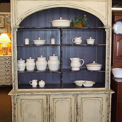 "Habersham Style Arched Top China Cabinet / Bookcase - Large ivory distressed Habersham style china cabinet or bookcase with 3 cabinet doors in base, adjustable shelves in hutch. Measures 59"" wide x 22"" deep x 90.5"" high."