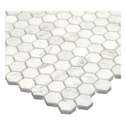 All Marble Tiles - Bianco Carrara 1 inch Honed Marble Honey Comb Mosaic Tile - Finish: Honed