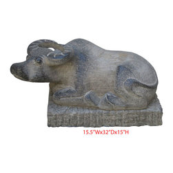 "Chinese Hand Carving Lying Buffalo Statue - Dimensions: 15.5""Wx32""Dx15""H"
