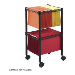 Safco - 2-Tier Compact File Cart - Black - More space with less waste! Two tiers of filing space with a compact footprint meets mobile, high-density filing needs. Sturdy steel wire construction. Hanging file frames accommodate letter and legal-size folders (not included). Rolls easily on four swivel casters (2 locking) and tucks under most worksurfaces when not in use.