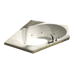 Spa World Corp - Atlantis Tubs 6060EAR Eclipse 60x60x23 Inch Corner Air Jetted Bathtub w/ R - The Eclipse Collection features luxuriously designed corner bathtubs, with a traditional oval interior. Molded floor pattern provides fall-prevention assurance and adds a piquant flavor to the design.  An airpool bathtub creates thousands of warm bubbles that stimulate the skin's light touch receptors, producting an overall calming effect.  An air blower works like a giant hair dryer, taking the room temperature air, increasing it by approximately 30-degrees and blowing it through the bath.  Air baths differ from a whirlpool in that the massage is much softer.  Drop-In tubs have a finished rim designed to drop into a deck or custom surround.  They can be installed in a variety of ways like corners, peninsulas, islands, recesses or sunk into the floor.  A drop in bath is supported from below and has a self rimming edge that is designed to sit over a frame topped with a tile or other water resistant material.  The trim for the air or water jets is featured in white to color match the tub.