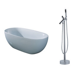"AKDY - AKDY AK-ZF277 67"" Euro Style White Acrylic FreeStanding Bathtub w/ Faucet Filler - AKDY free standing acrylic bathtubs come in many styles, shapes, and designs. The acrylic material used for tubs is very durable, light weight, and can be molded into a variety of shapes and styles which explain the large selection available in this product category. Acrylic free standing tubs are a cost efficient way to give your bathroom a unique beautiful touch. A bathtub is no longer just a piece of cast iron metal thrown into a bathroom by a builder."
