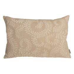 Pillow Decor - Pillow Decor - Brackendale Ferns Cream Rectangular Throw Pillow - Made from a beautiful and hard wearing upholstery fabric, this throw pillow features a stylized swirling leaf pattern. Suitable for contemporary or traditional decor schemes, you will love the fabric quality. The background of the pillow is a simple tight weave in ivory and camel gold. The leaves are in soft ivory chenille that contrasts beautifully against the texture of the background fabric.