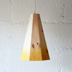Recycled Pallet Large Yellow Pendant Lamp Shade by Factory Twenty One - These wooden pendant lamp shades are made out of recycled pallets and can be custom designed with any color of your choosing. Brilliant!