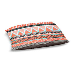 "DiaNoche Designs - Dog Pet Bed Fleece - Coral Tribal - DiaNoche Designs works with artists from around the world to bring unique, designer products to decorate all aspects of your home.  Our artistic Pet Beds will be the talk of every guest to visit your home!  BARK! BARK! BARK!  MEOW...  Meow...  Reallly means, ""Hey everybody!  Look at my cool bed!""  Our Pet Beds are topped with a snuggly fuzzy coral fleece and a durable underside material.  Machine Wash upon arrival for maximum softness.  MADE IN THE USA."