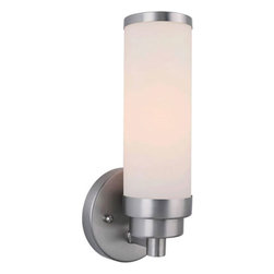 Forte Lighting - Brushed Nickel One-Light Fluorescent Bath Fixture with Satin Opal Glass - Brushed Nickel One-Light Bath Fixture with Satin Opal Glass Forte Lighting - 50012-01-55