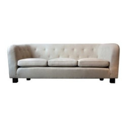 Eco First Art 3 - Large Swedish chesterfield sofa made in the old traditional way with springs in the seat, back and sides. Modern clean lines to the side and back reminding us it is an early modernist piece.