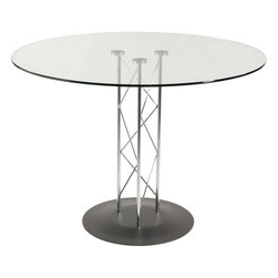 "Euro Style - Euro Style Trave 42"" Dining Table 08042G/08023D/08021A - Clear glass top and industrial strength base make Trave the first name in lasting style. The statement is crisp lines and clear strength. Sitting or standing room only!"