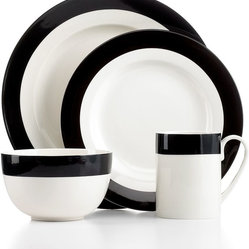 Martha Stewart Collection Dinnerware, Classic Band Black 4-piece Place Setting