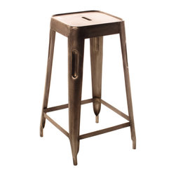 Ironworks Bar Stool - Some backless bar stools can be boring, but this beautiful copper stool is an interesting departure from the norm and would fabulous at any bar.