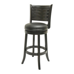 Boraam - Boraam SUMATRA 29 Inch Bar Stool in Black Sandthru Finish - Boraam - Bar Stools - 48430 - This beautifully constructed swivel stool is the perfect addition to your home. The attractively designed backrest mixes with the plush black seat creating that desired look of sophistication. The compatible design will undoubtedly merge seamlessly with any style kitchen, basement, game room, or bar! Constructed from solid hardwood, made with precision construction, and features a steel ball bearing swivel plate for a flawless three hundred and sixty degree swivel, making the Sumatra stool a durably solid piece of furniture. Performance tested by the leading testing facilities that are recognizable worldwide, purchasing this stool is not only a smart choice but also a wise investment. Additionally, the sleek bonded leather upholstery encases a high-density foam cushion providing the maximum level of comfort for all who sit.