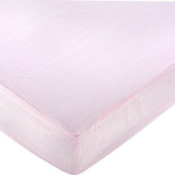 Sweet Jojo Designs - Pink Toile Gingham Crib and Toddler Sheet - The Pink French Toile fitted crib toddler sheet will help complete the look of your Sweet Jojo Designs nursery. This Pink and White Gingham Print Cotton sheet fits all standard crib and toddler mattresses and is machine washable for easy care. Dimensions: 52 in x 28 in x 8 in.