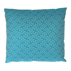 Designer Fluff - Gem Pillow, 18x18 - This bold yet classic print will pump up the oomph on your sofa. The pillow is handmade with designer fabric on both sides, the pattern expertly matched at the knife-edged seams.