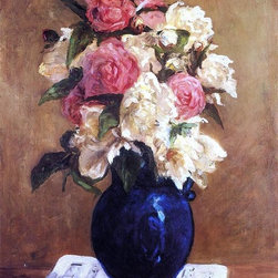"""Paul Gauguin Bouquet of Peonies on a Musical Score - 16"""" x 24"""" Premium Archival - 16"""" x 24"""" Paul Gauguin Bouquet of Peonies on a Musical Score premium archival print reproduced to meet museum quality standards. Our museum quality archival prints are produced using high-precision print technology for a more accurate reproduction printed on high quality, heavyweight matte presentation paper with fade-resistant, archival inks. Our progressive business model allows us to offer works of art to you at the best wholesale pricing, significantly less than art gallery prices, affordable to all. This line of artwork is produced with extra white border space (if you choose to have it framed, for your framer to work with to frame properly or utilize a larger mat and/or frame).  We present a comprehensive collection of exceptional art reproductions byPaul Gauguin."""