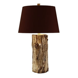Arteriors - Arteriors Goldberg Tall Wood Lamp - A real log plated in silver and then topped with a dark brown silk shade lined in silver foil highlights the finish when turned on. Since these are real logs, no two will be exactly the same. 3-way switch.