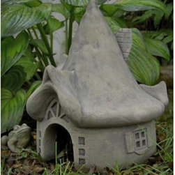 Summerbridge Toad House Garden Statue - This charming Summerbridge Toad House is a great shelter for lawn statue friends. Arched doorway for authenticity Cast from a rubber mold for a seamless finish Thatched looking roof for old-world charm Weather-resistant concrete ensures years of enjoyment Available in a variety of colors and finishes What We Like About The Summerbridge Toad House The Summerbridge Toad House is a charming looking old-style country home that is just the right size for your miniature friends. This toad house features an arched doorway with a half-wheel decoration over the door. The highly detailed thatched looking roof complete with windows adds to the charm of this piece. This house is also constructed from weather-resistant concrete that will stand years of the elements.