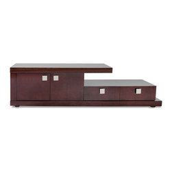 Zuri Furniture - Glossy Wood Tribeca TV Stand with Storage - Crafted with dark ebony wood and high gloss finish, the Tribeca contemporary TV stand is a perfect match for any high-end living space. The two-tier design is finished with cabinets and drawers to provide ample storage and versatility.