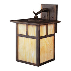 KICHLER - KICHLER 9652CV Alameda Arts and Crafts/Mission Outdoor Wall Sconce - The Alameda Collection brings its simple, down-to-earth design to your outer decor adding an unassuming dynamic to your home's profile. Each fixture utilizes a classic lantern shape. Our Canyon View finish and Honey opalescent glass panels, add instant beauty and ambiance, making the Alameda Collection a family of outdoor fixtures that garners attention wherever you install it. The Alameda Collection's 1-light wall lantern adds an immediate and beautiful touch to your home. Easy to install. U.L. listed for wet location making this Alameda fixture a superb selection.