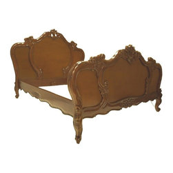 LANSKY STUDIO - Lina French Country Carved Brown Bed in Queen - Add some french provincial flair to your bedroom with this beauty. Made of mahogany wood and hand finished in brown. Intricately hand carved with heavy details shown on the head board, foot board, rails and slats.
