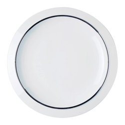 Alessi Dinnerware - Alessi Dinnerware Filetto Dining Plate - Dinner plate. Filleto, a part of the Bavero collection features a decorative silver border. The Bavero porcelain set is another superb specimen of Castiglioni's work. This project draws its raison d'être from what the architect was referring to as the principal design element, in other words the key project idea that the designer must seize, the intuition at the start of any job: in this case, it's a simple (but highly significant, not to say bold) design move, folding the edges of the plates downwards. Manufactured by Alessi. Designed in 2002.