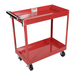 None - Arcan Red Powder Coated Steel Service Cart - Powder coated for durability,this steel service cart is made with heavy-duty construction for long-lasting use. It is bright red with a steel handle and four locking wheels. The professional cart includes two shelves that are each three inches deep.