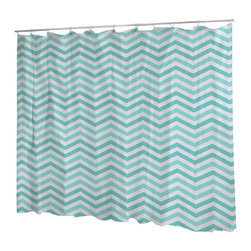 Uneekee - Uneekee Chevron Turquoise Shower Curtain - Your shower will start singing to you and thanking you for such a glorious burst of design as you start your day!  Full printing on the front and white on the back.  Buttonhole openings for shower rings.