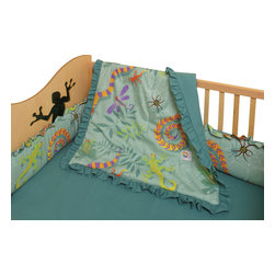 Room Magic - Little Lizards  Crib Set - This adorable designer fabric is crawling lizards, snakes frogs and dragonflies.  The 4 piece crib bedding set includes bumper, solid crib sheet, crib comforter (print on top, solid on bottom) and gathered print crib skirt in the finest 100% cotton.