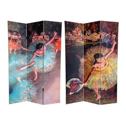 """Oriental Furniture - 6 ft. Tall Double Sided Works of Degas Canvas Room Divider - Arabesque - Dance like there's no tomorrow with two masterpieces painted by self-described """"Realist"""" Edgar Degas. The image on the front is  Green Dancer, circa 1880 , in which the """"Anti-Impressionist"""" deftly accomplishes one of his goals as an artist: capturing the spontaneity of life.  End of an Arabesque, circa 1877  on the back is a prime example of Degas eschewing the impressionist commonality of painting  En Plein Air  (outdoors), preferring instead to paint his subjects in a candid light. These timeless images will bring elegant accents to your living room, bedroom, dance studio or place of business. This three panel screen has different images on each side, as shown."""