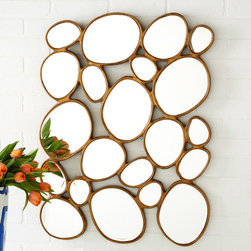 "Tozai - Free Form Mirror - The Free Form mirror's unique design offers a fresh and relaxing aesthetic. On a open gold leaf frame, circular mirrors create an eclectic and modern statement. 23""W x 1""D x 32""H; Mirrors are not perfectly round; MDF; Set of two; Hanging hooks included"