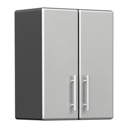 """BH North America - Ulti-MATE Garage PRO Model GA-09PC - This popular 2-door wall cabinet offers great style in a space saving wall hanging design.  Other features include; unique Polyurethane coated cabinet fronts in Silver, full radius cabinet profile for refined styling, strong 3/4"""" cabinet construction, 2-adjustable 1"""" thick shelves with 200 lb industrial load rating, fully adjustable recessed Euro hinges, oversized Brushed Chrome styled cabinet handles, inverted wall cleat for easy wall installation and much more.  Assembly required."""