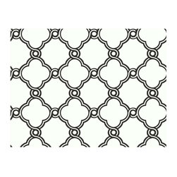 York - Ap7480 Open Trellis Diamond Wallpaper - AP7480 Open Trellis from Silhouettes by Ashford House is a white wallpaper with a black ornate clover shaped trellis pattern.
