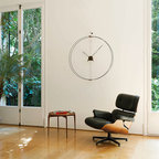 Nomon - Barcelona Wall Clock in Walnut/Chromed Steel - Barcelona Wall Clock in Walnut, Chrome Steel and Fiberglass, Hands in Black Lacquered, Made in Spain